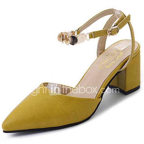 Women's Shoes PU Summer Comfort Sandals Chunky Heel Pointed Toe Sequin for Casual Beige Yellow