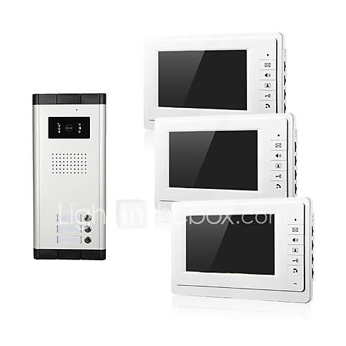 Apartment One to Three Video Door Phone Intercom Doorbell Camera 7 Inch LCD Display Monitor for Three Family Camera 700TVLine CMOS 3.6mm Lens Hands-free