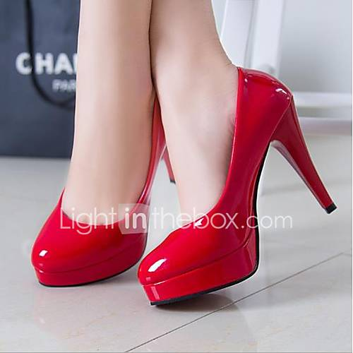 Women's Shoes Patent Leather Spring Fall Comfort Basic Pump Heels for Casual White Black Red