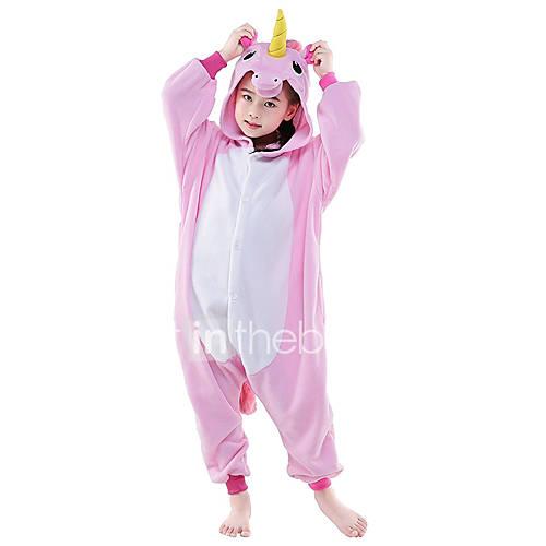 Kigurumi Pajamas Flying Horse / Unicorn Onesie Pajamas Costume Polar Fleece Pink / WhiteBlue / WhitePink Cosplay For Kid's Animal