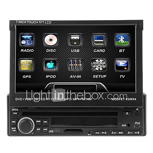 7 inch 1 DIN 800 x 480 Windows CE 5.0 Car DVD Player  for universal Built-in Bluetooth Memory Storage Sounds Touch Screen Retractable