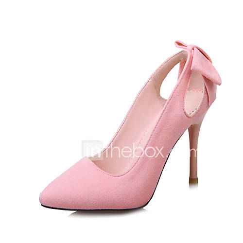 Women's Heels Spring Summer Fall Winter Club Shoes Fleece Office  Career Party  Evening Dress Stiletto Heel Bowknot Black Pink Gray