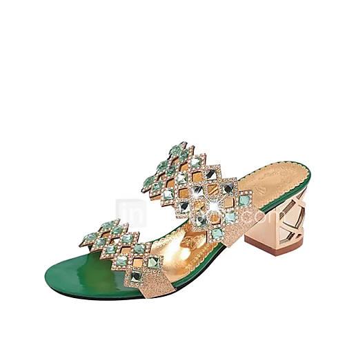Women's Shoes PU(Polyurethane) Summer Comfort Sandals Chunky Heel / Crystal Heel / Block Heel Pointed Toe Crystal Red / Green / Blue