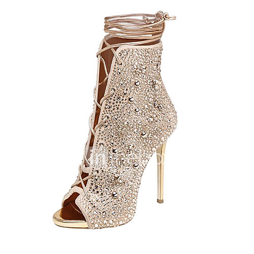 Women's Shoes Fleece Summer Gladiator Sandals Stiletto Heel Open Toe Rhinestone Lace-up for Wedding Casual Dress Party  Evening Office