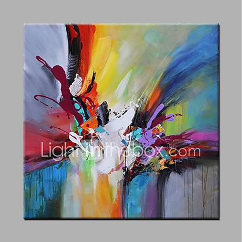 Hand-Painted Abstract Square Modern Canvas Oil Painting Home Decoration One Panel