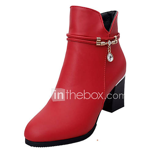 Women's Shoes PU Spring Fall Comfort Boots Chunky Heel for Outdoor Black Red