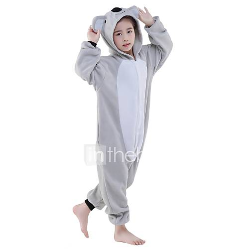 Kigurumi Pajamas Koala Onesie Pajamas Costume Polar Fleece Gray Cosplay For Kid Animal Sleepwear Cartoon Halloween Festival / Holiday