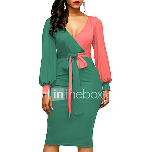 Women's Party Club Sexy Street chic Bodycon Knee-length Dress Color Block Ruched V Neck Long Sleeves Spring Fall High Waist