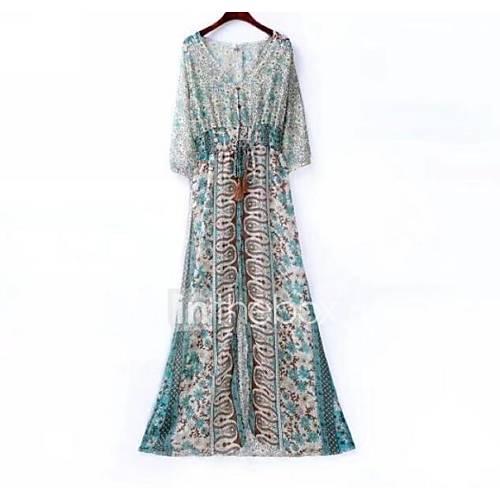Women's Basic Boho Chiffon Dress - Geometric Color Block High Waist Maxi V Neck