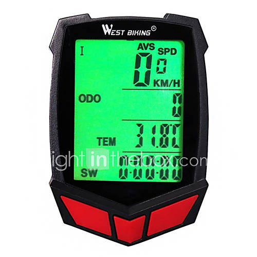 WEST BIKING Odometer Bike Computer/Bicycle Computer Stopwatch Waterproof Wireless Backlight Accuracy Speedometer SPD - Current Speed