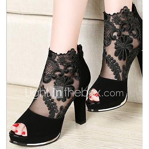 Women's Shoes PU(Polyurethane) Summer Basic Pump Heels Chunky Heel Black / Burgundy