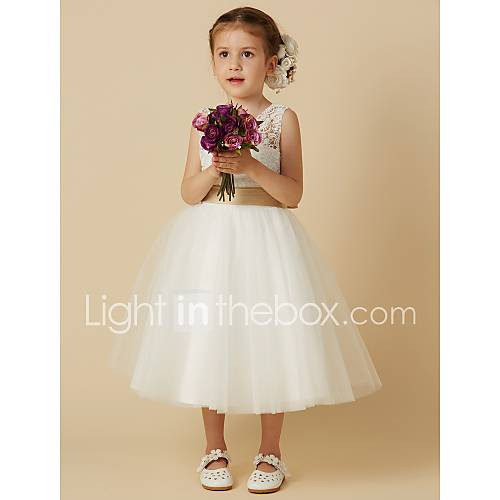 46a1c8babf1 Read More Princess Knee Length Flower Girl Dress - Lace   Tulle Sleeveless  Jewel Neck with Bow(s)   Sash   Ribbon by LAN TING BRIDEUSD 53.99