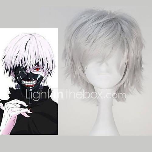 Cosplay Wigs Tokyo Ghoul Ken Kaneki Anime Cosplay Wigs 32 CM Heat Resistant Fiber Men's