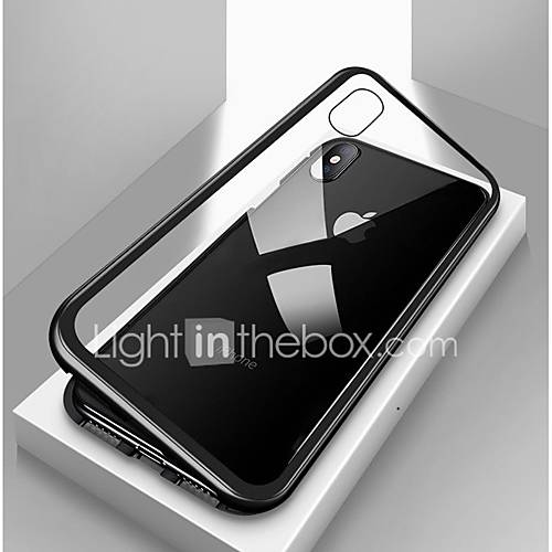 Case For Apple iPhone X / iPhone 8 Plus / iPhone 8 Shockproof / Transparent / Magnetic Full Body Cases Solid Colored Hard Tempered Glass / Metal