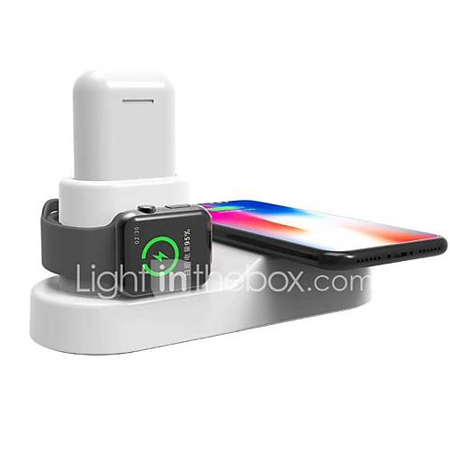 3 in 1 Wireless Charger US Plug EU Plug with Cable Magnet Mount Multi-Function Wireless Charger for Airpods Smartwatch Mobile Phone for iPhone 11 11Pro 11Pro Max Xs Xs Max XR X Apple Watch 5/4/3/ 2/ 1