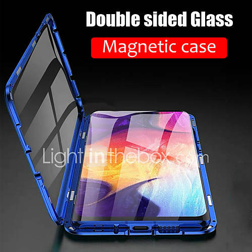 Case For Samsung Galaxy S9 / S9 Plus / S8 Plus Magnetic Full Body Cases Solid Colored Tempered Glass / Metal