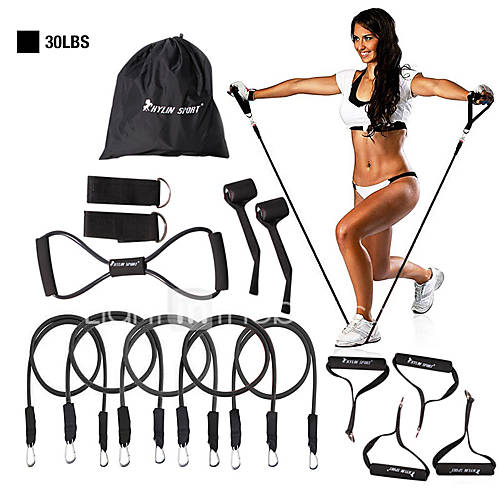 KYLINSPORT Resistance Band Set 15 pcs 5 Stackable Exercise Bands Door Anchor Legs Ankle Straps Sports Latex Rubber Yoga Pilates Exercise  Fitness Strength Training Pull Up Physical Therapy For Home
