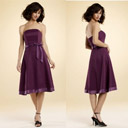A-line Strapless Knee-length Taffeta Bridesmaid Dress / Prom Dress HSX194