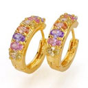 24K Gold Plated Cubic Zirconia Earring Hoop - Cubic Zirconia Earring 81104-07 Colorful (SZY983)