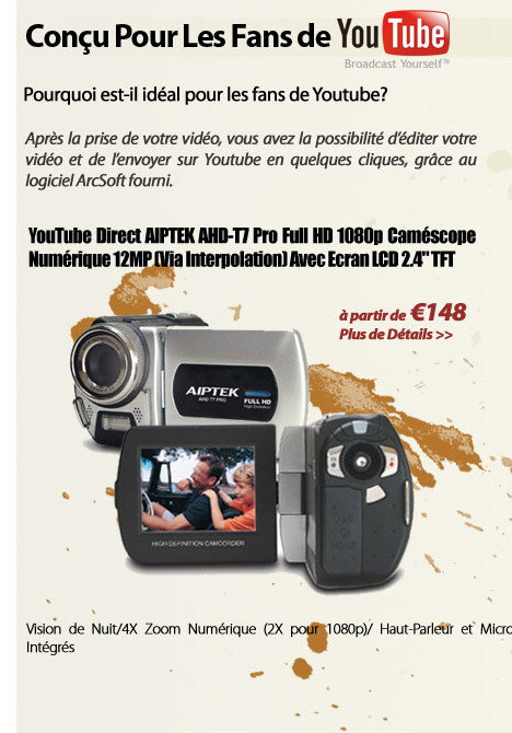 YouTube Direct AIPTEK AHD-T7