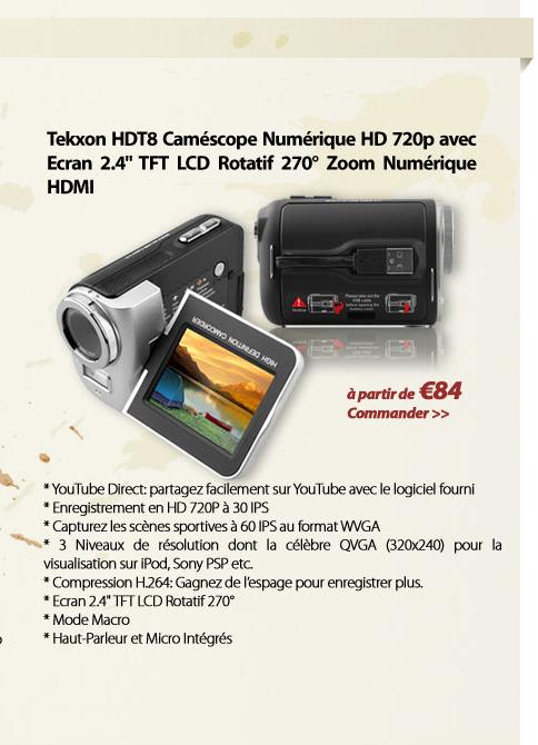 Tekxon HDT8 Caméscope Numérique HD 720p