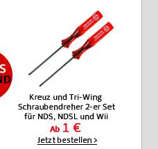 Kreuz und Tri-Wing Schraubendreher 2-er Set für NDS, NDSL und Wii