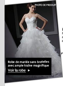 Robe de mariée sans bretelles avec ample traîne magnifique