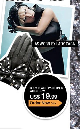Gloves with Patterned Wrist Bow