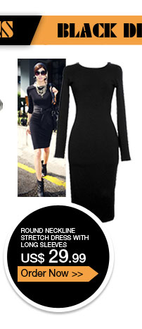 Round Neckline Stretch Dress with Long Sleeves