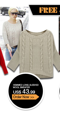 Hemmed Long Sleeved Wool Sweater