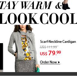 Scarf-Neckline Cardigan