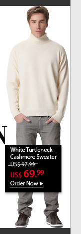 White Turtleneck Cashmere Sweater