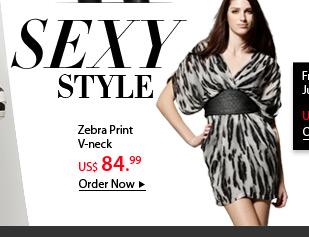 Zebra Print V-neck