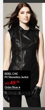 REBEL CHIC PU Sleeveless Jacket