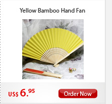 Yellow Bamboo Hand Fan