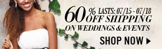 60% Off Shipping on Weddings & Events