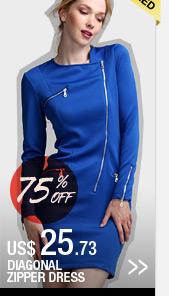 Diagonal Zipper Dress