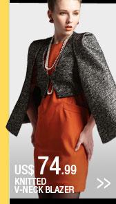 Knitted V-Neck Blazer