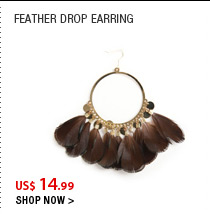 Feather drop earring