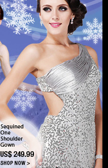 Sequined One Shoulder Gown
