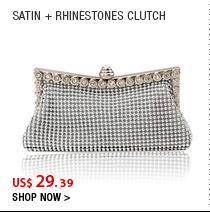 Satin + Rhinestones Clutch