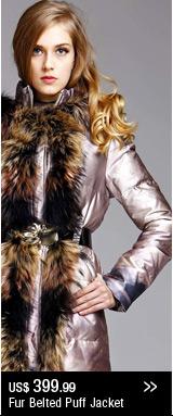 Fur Belted Puffer Jacket
