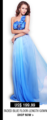 Faded Blue Floor-Length Gown