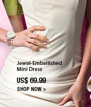 Jewel-Embellished Mini Dress