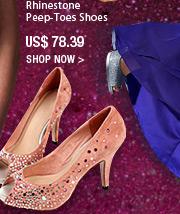 Rhinestone Peep-Toes Shoes