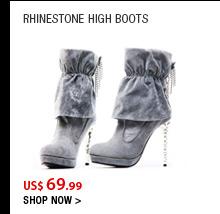 Rhinestone High Boots