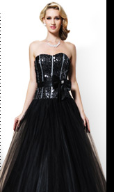 Black Sequined Tulle Gown
