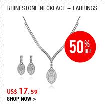 Rhinestone Necklace + Earrings