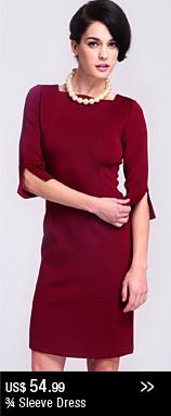 ¾ Sleeve Dress