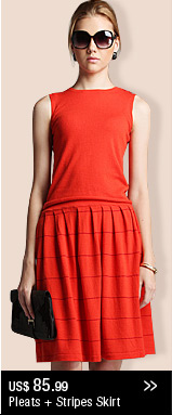 Pleats + Stripes Skirt